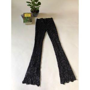BETSEY JOHNSON Black Lace Bellbottom Pants Size 4